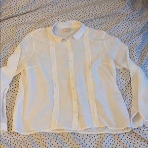 Sezane white silk blouse
